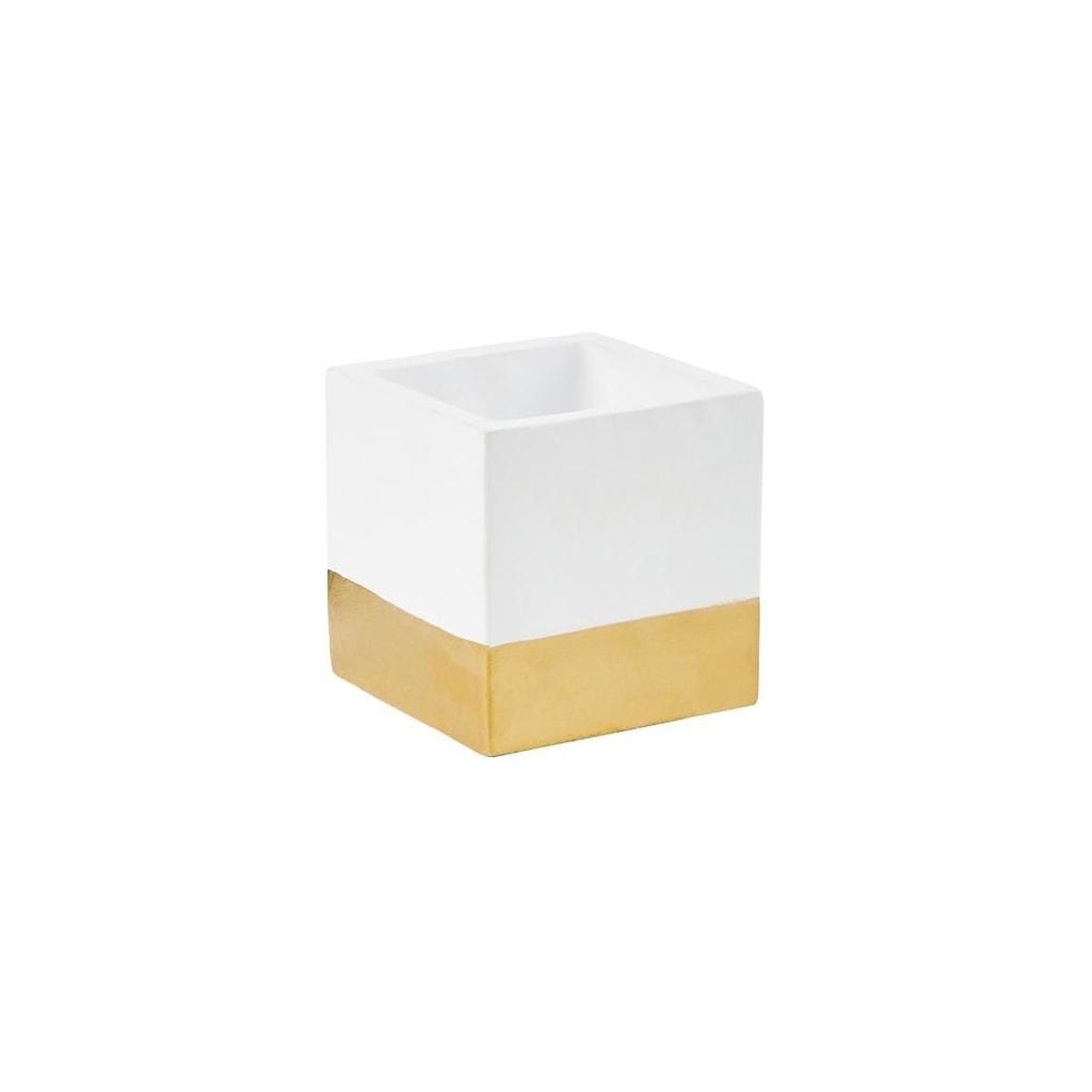 GOLDEN TOUCH Květináč cement 9 x 9 cm - bílá/zlatá