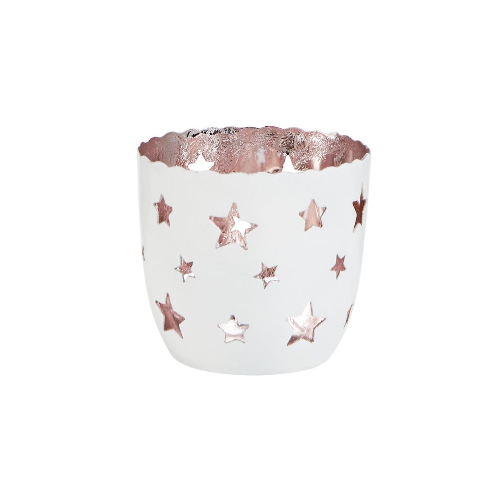 DELIGHT Svícen na čajovou svíčku hvězdy malý - růžová/bílá