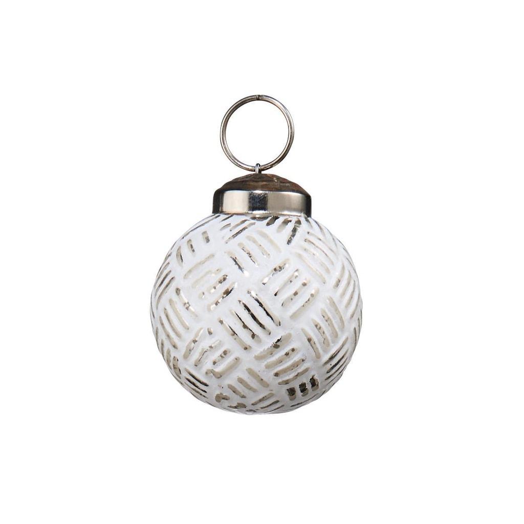 HANG ON Ozdoba skleněná koule 6 cm - bílá