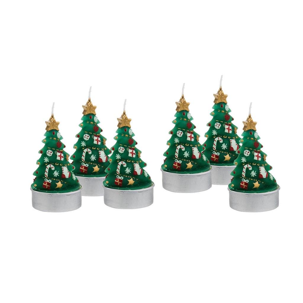 MERRY AND BRIGHT Čajové svíčky vánoční stromek set 6 ks
