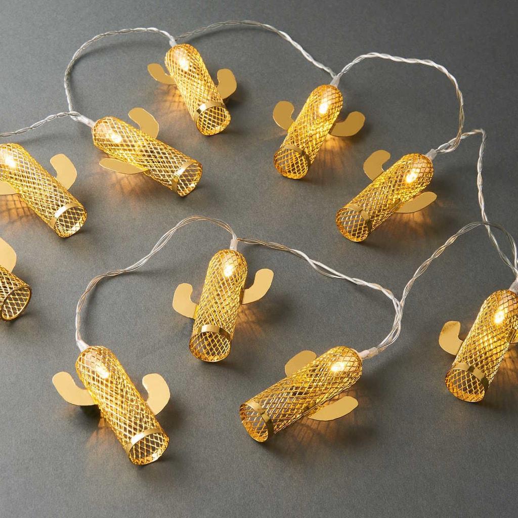 MIAMI Světelný LED řetěz kaktus - zlatá