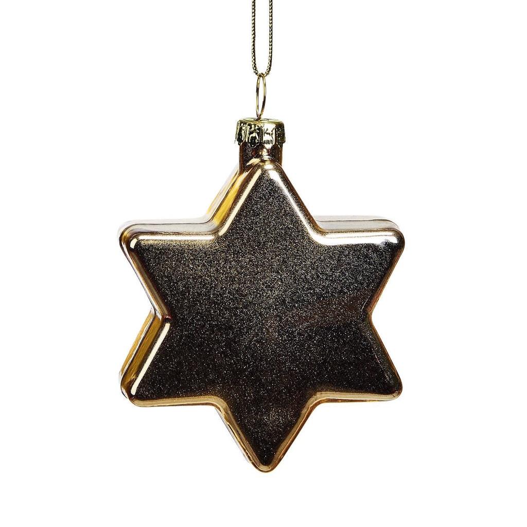 HANG ON Skleněná koule hvězda 8 cm - zlatá