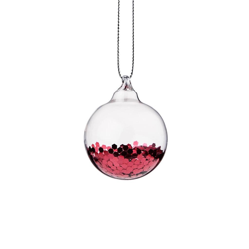 HANG ON Ozdoba vánoční koule se třpytkami 4 cm - červená