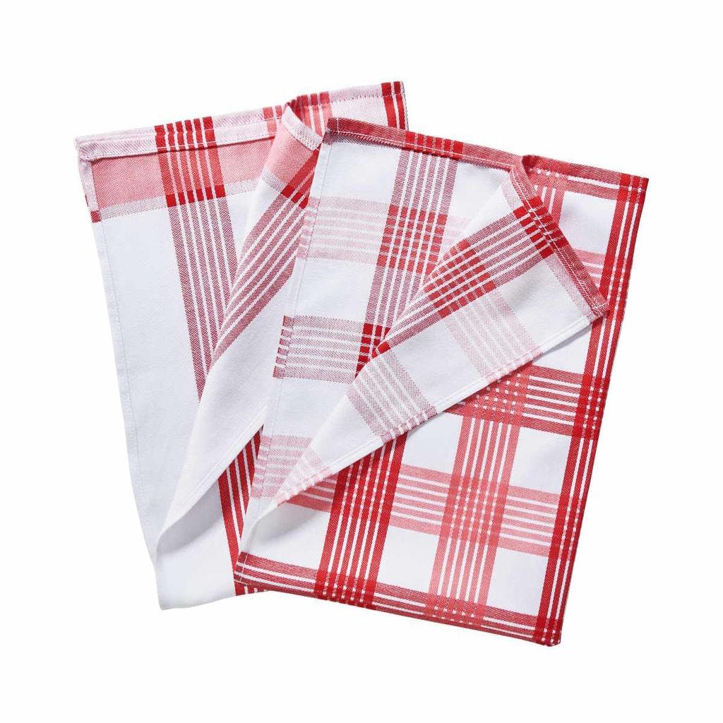 CLEAN TEAM Utěrka set 2 ks - červená/bílá