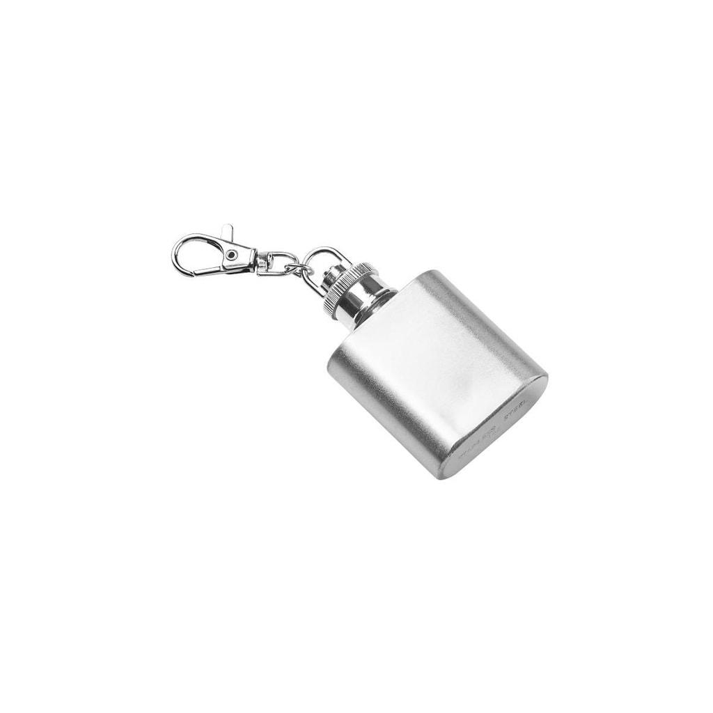 MINI FLASK Přívěšek na klíče placatka - stříbrná