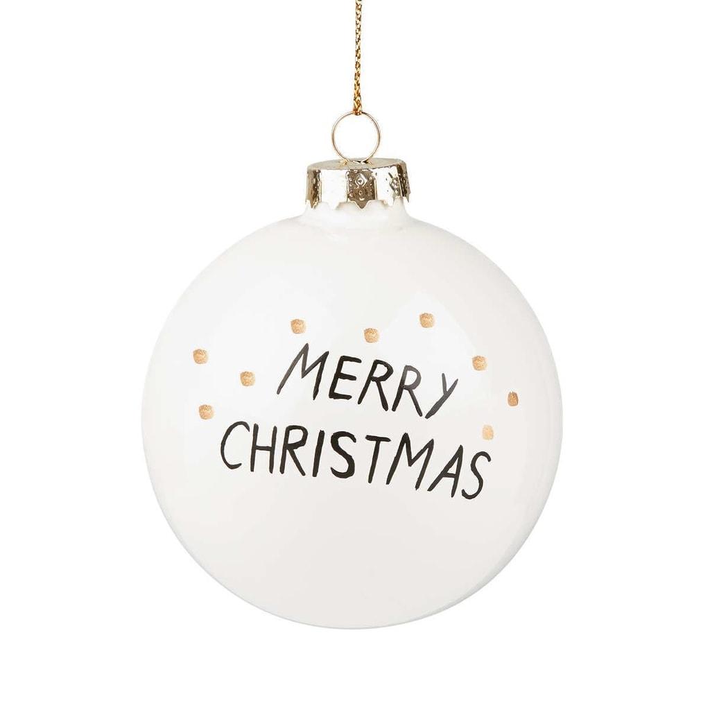 """HANG ON Ozdoba koule """"Merry Christmas"""" 8 cm"""