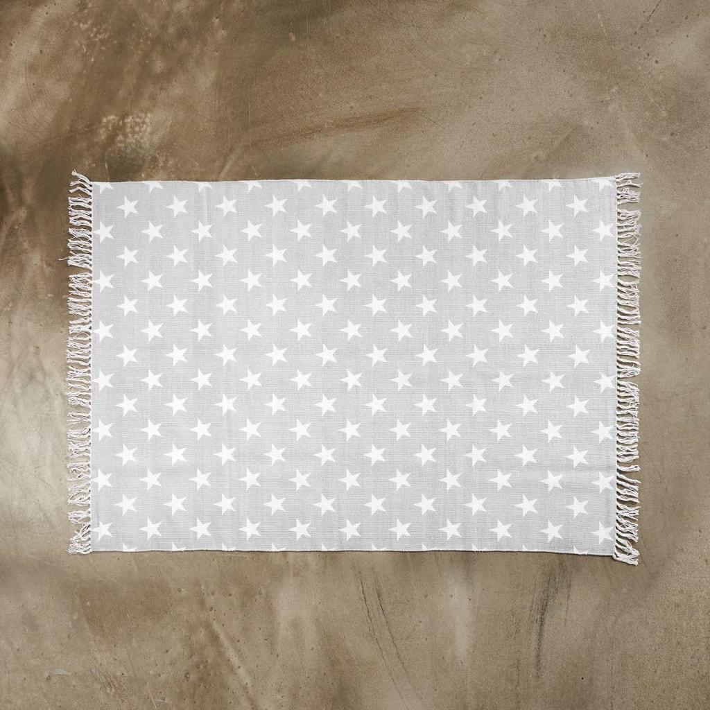 SILENT DANCER Koberec hvězdy 120 x 170 cm - šedá/bílá