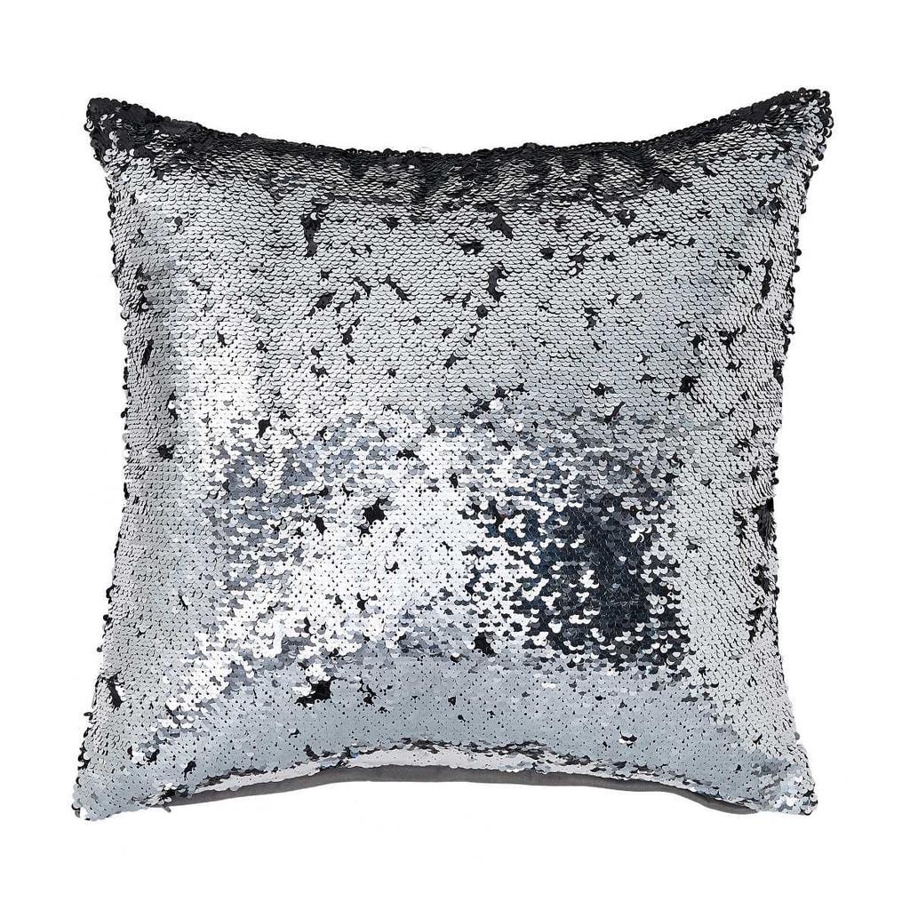 MIRACLE Flitrový polštář - stříbrná/černá
