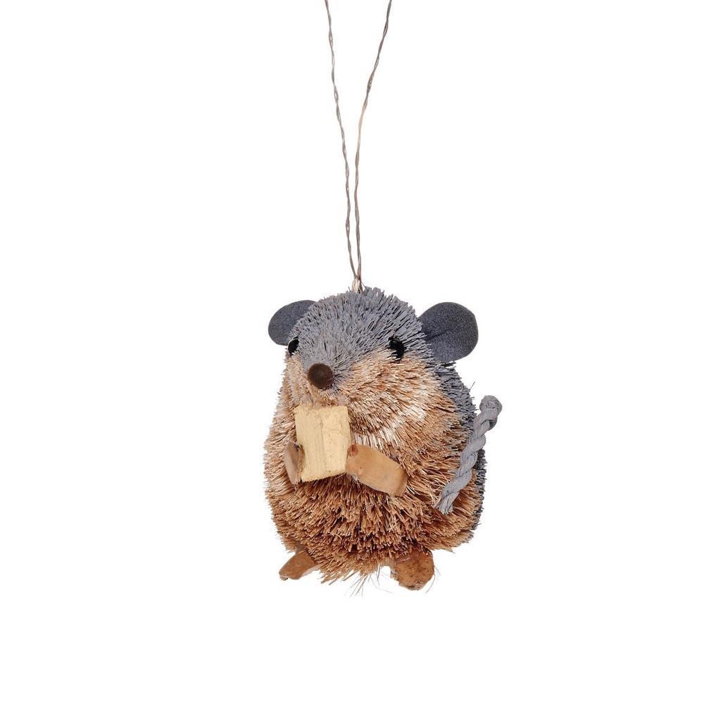 HANG ON Ozdoba ze slámy myš se sýrem