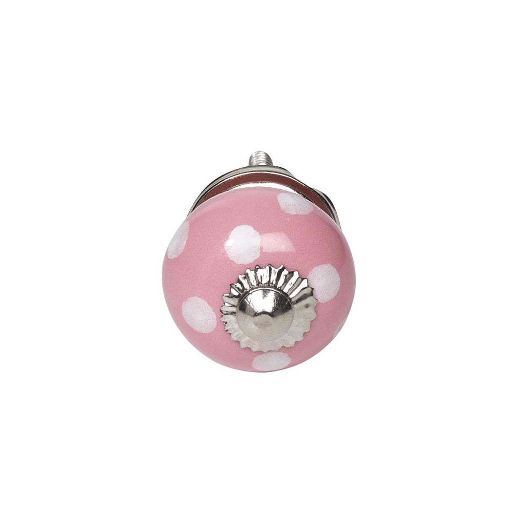 OPEN Nábytková úchytka puntíky - růžová/bílá
