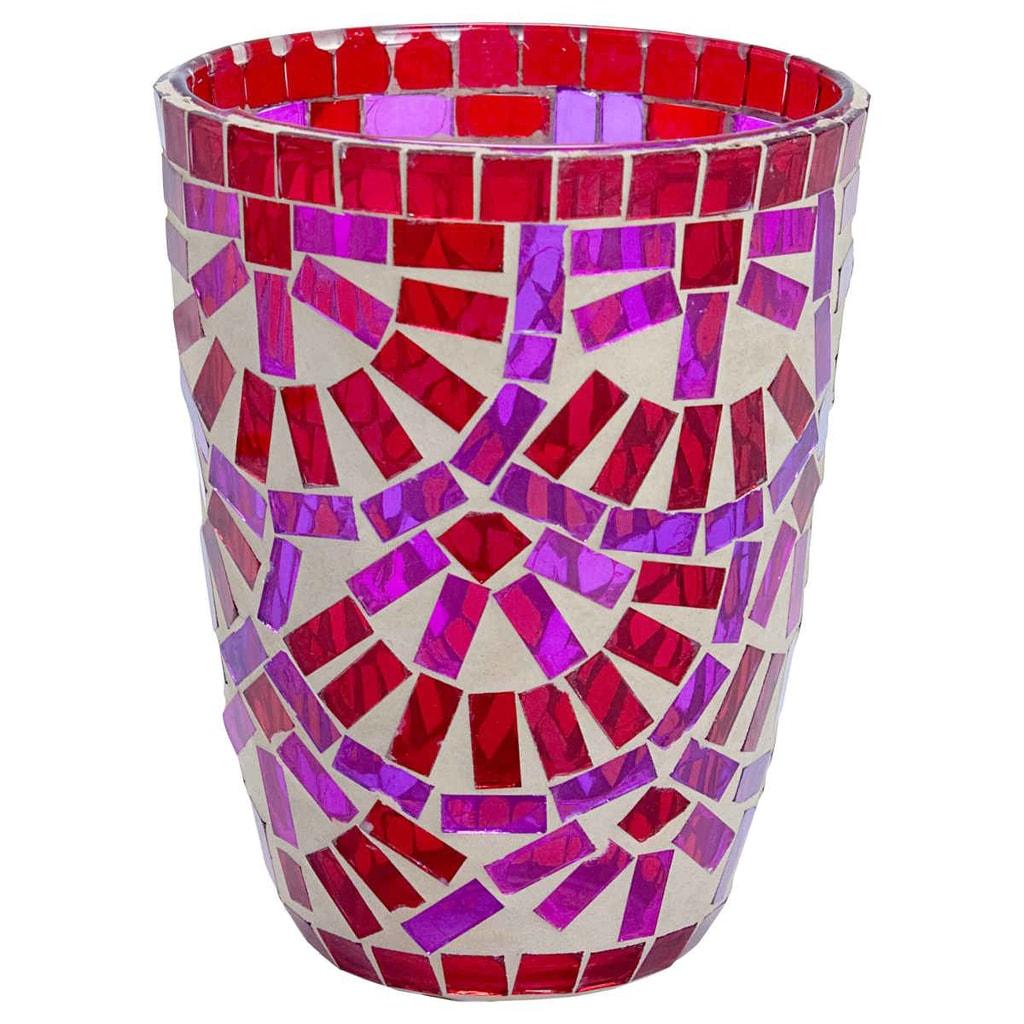 TIFFANY Lucerna na svíčku 12cm - červená/růžová