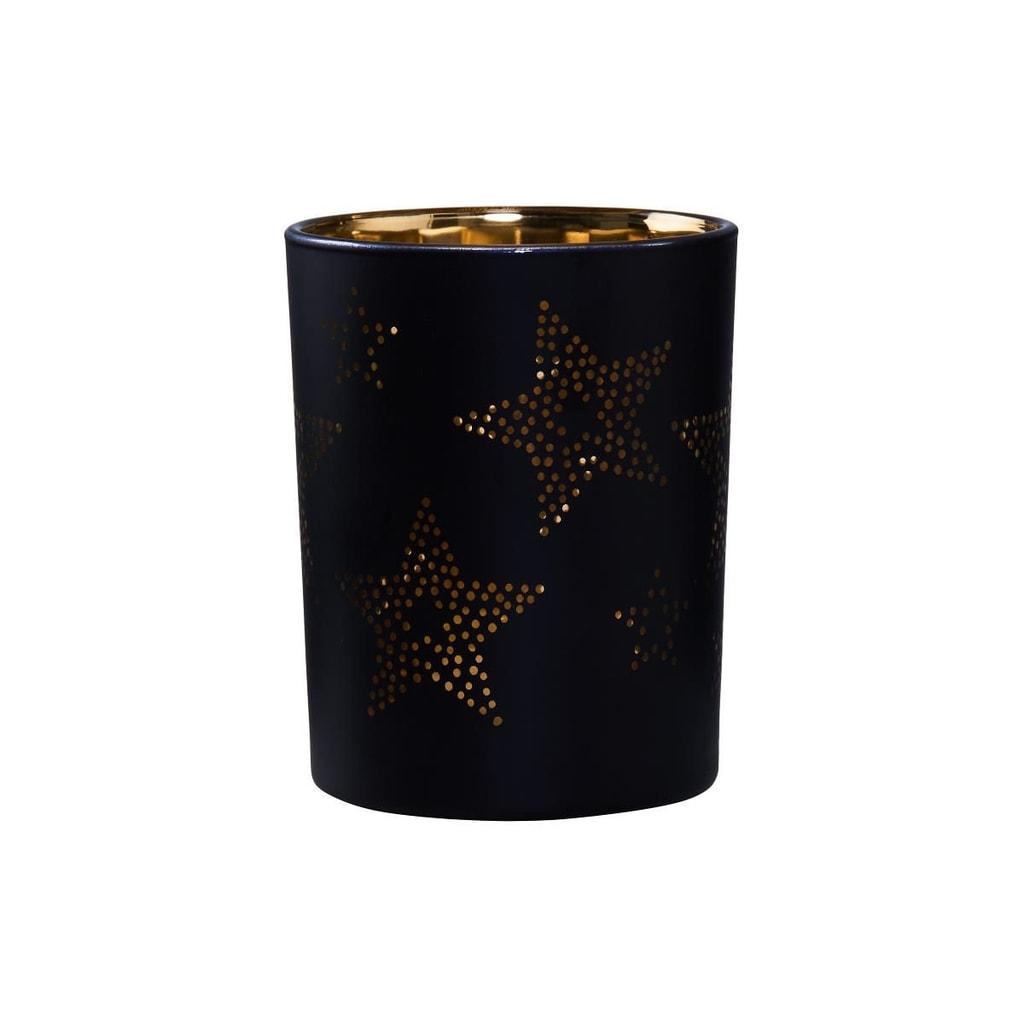 DELIGHT Svícen na čajovou svíčku hvězdy 12 cm - černá/zlatá