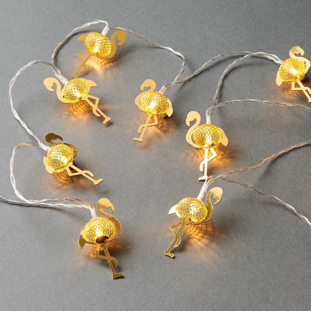 MIAMI Světelný LED řetěz plameňák - zlatá
