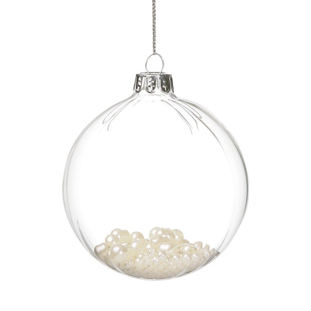 HANG ON Ozdoba koule perlová 8 cm - bílá