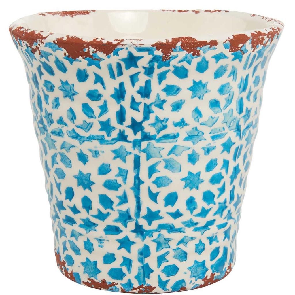 TERRACOTTA Květináč 14 cm - bílá/tyrkysová
