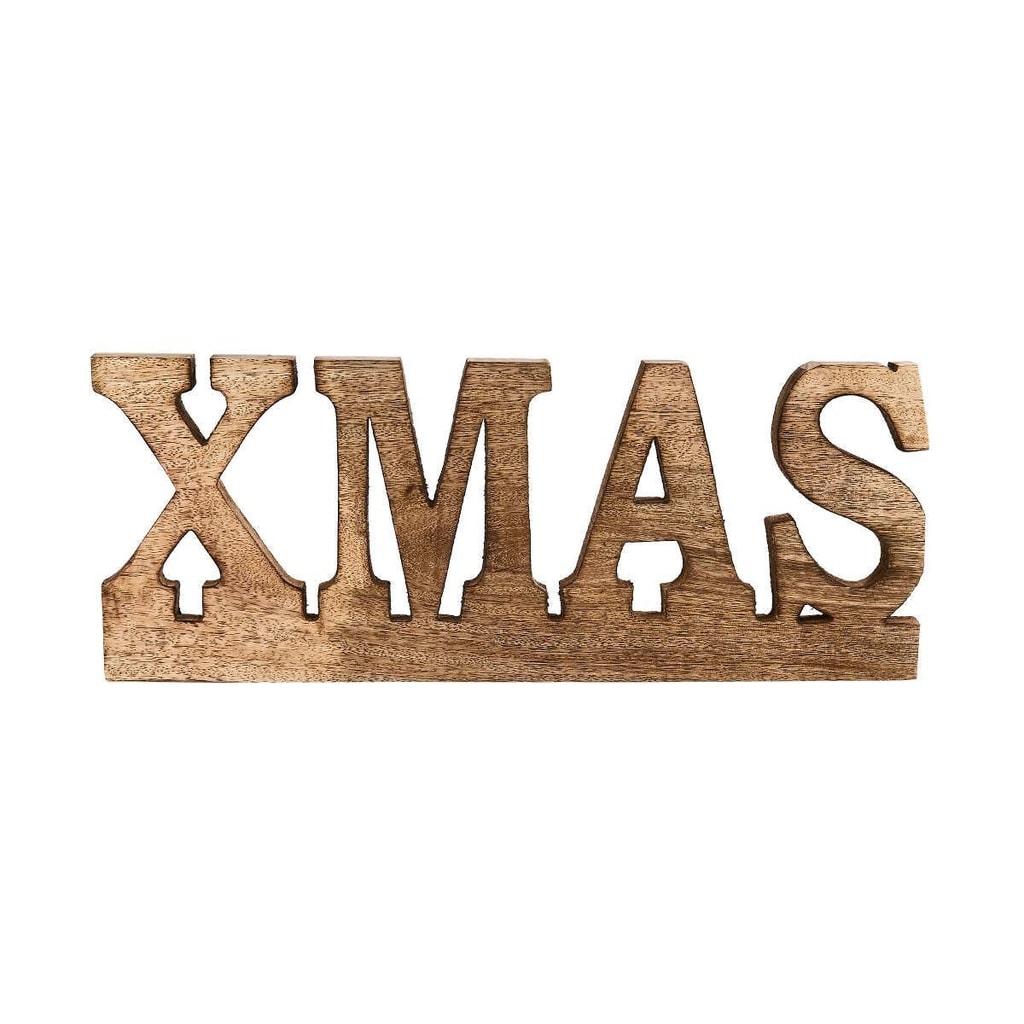X-MAS Nápis dekorační z mangového dřeva 45 cm