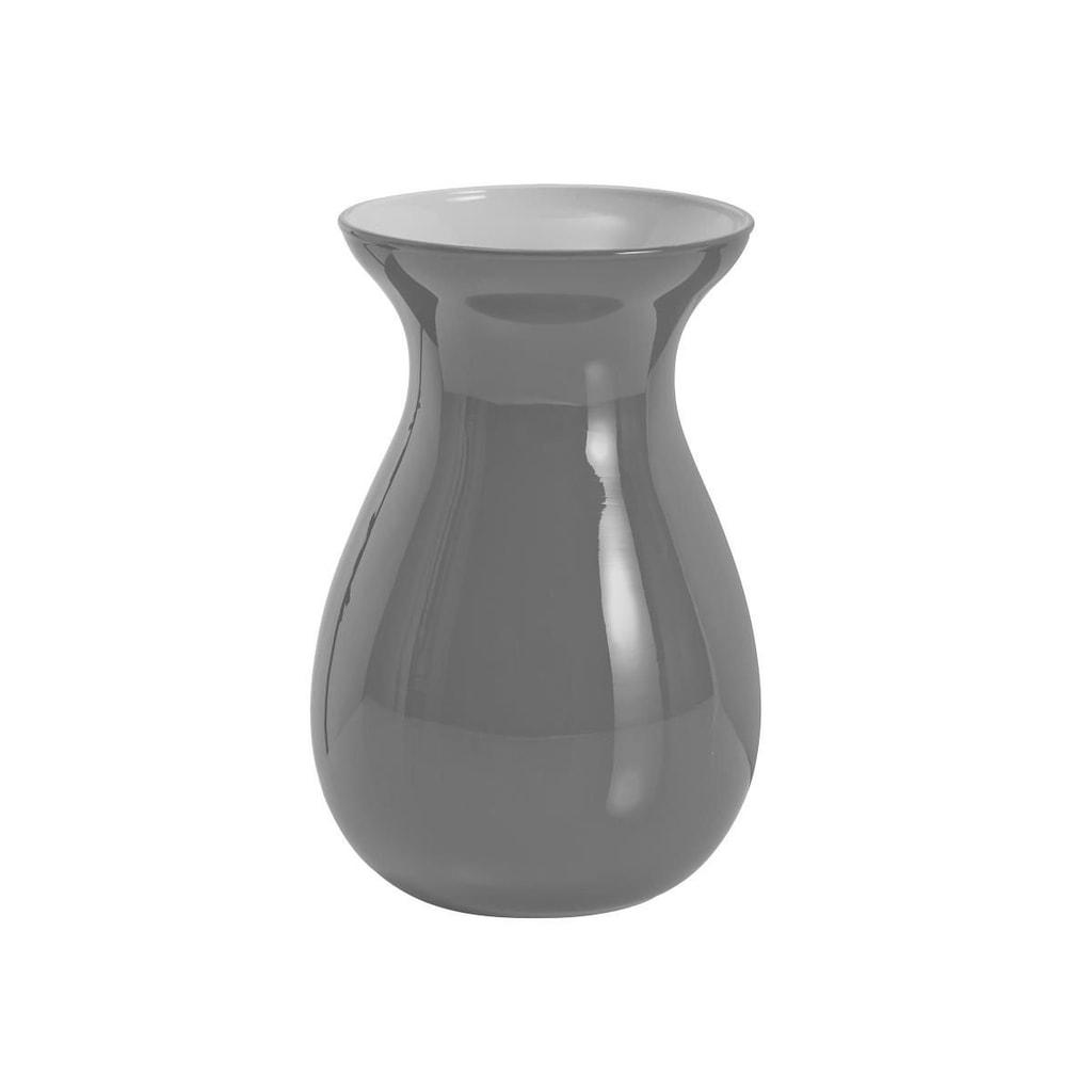 BELLE Váza skleněná 18 cm - tm. šedá