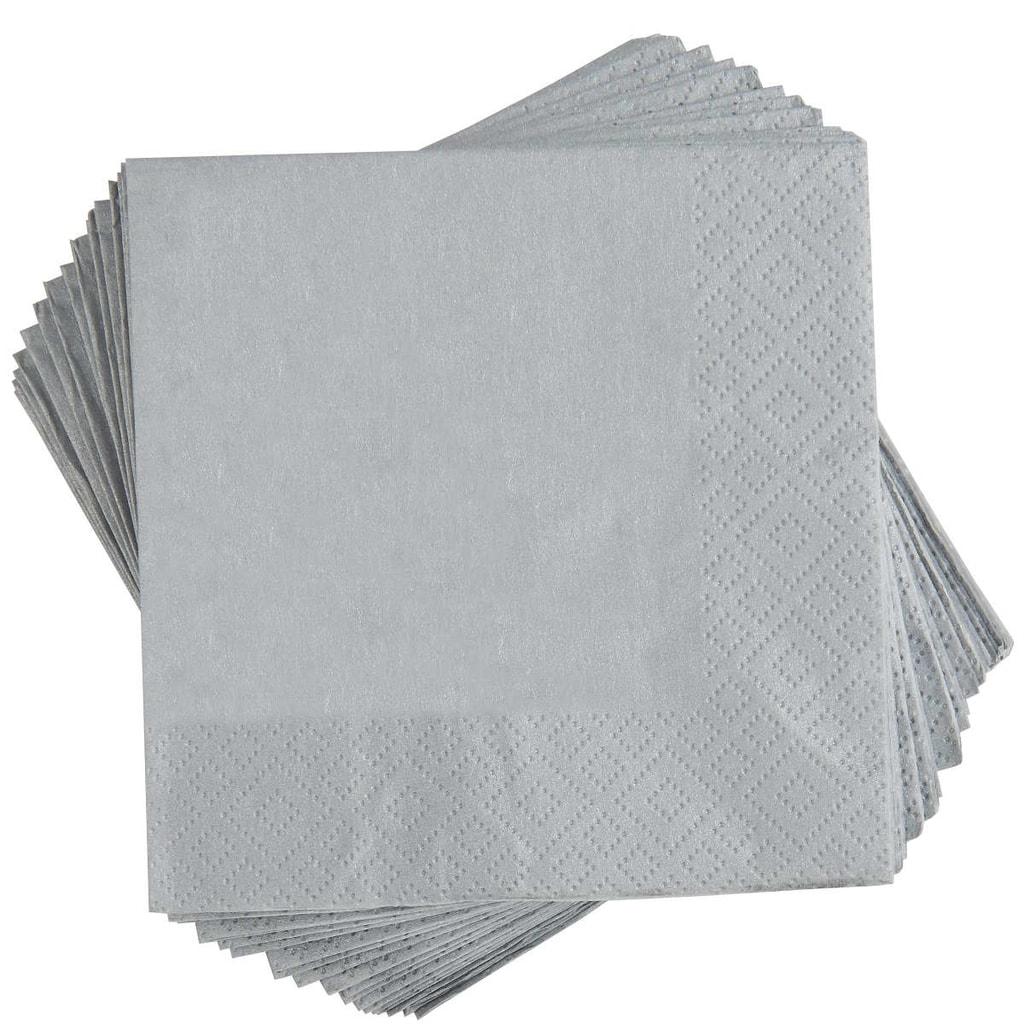 APRÉS Papírové ubrousky koktejlové - stříbrná