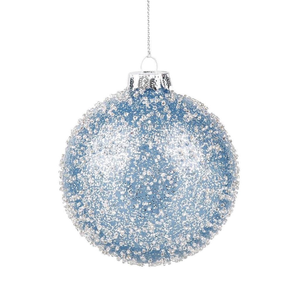 HANG ON Ozdoba koule se třpytkami 8 cm - sv. modrá