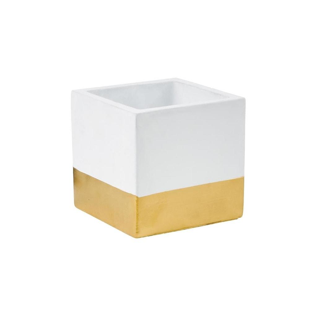 GOLDEN TOUCH Květináč cement 11 x 10 cm - bílá/zlatá