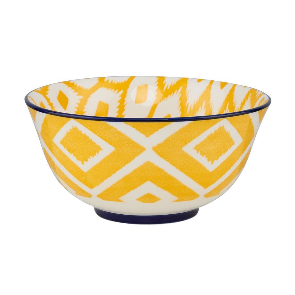 ORNAMENTS Porcelánová miska, 15 cm - žlutá/modrá