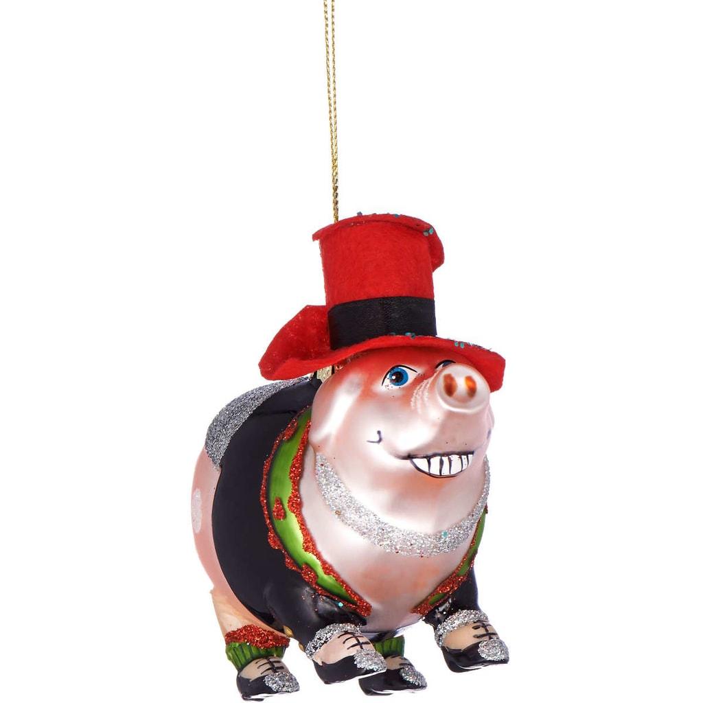 HANG ON Ozdoba silvestrovské prasátko s kloboukem 10 cm