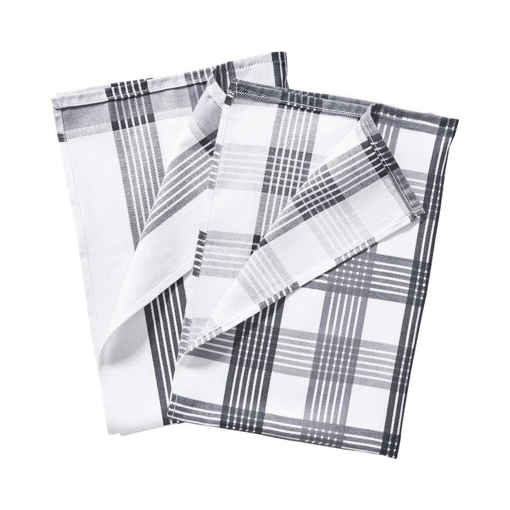 CLEAN TEAM Utěrka set 2 ks - černá/bílá