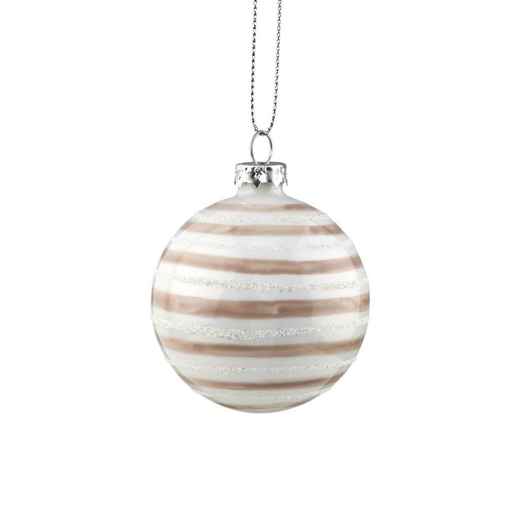 HANG ON Skleněná koule pruhovaná 6 cm - bílá/tm.