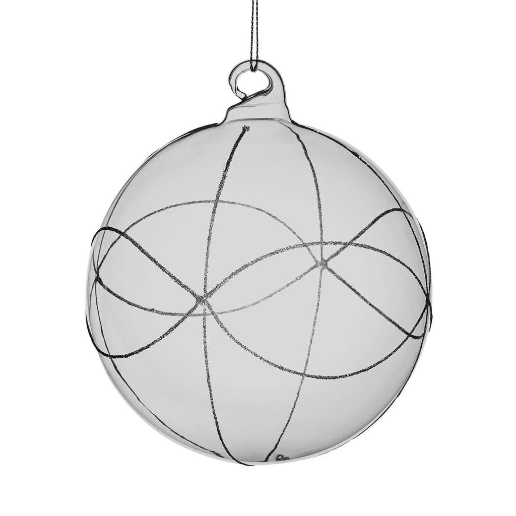 HANG ON Ozdoba koule se třpytkami 8 cm - šedá