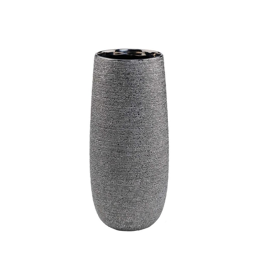 ASTRID Keramická váza 28 cm - stříbrná