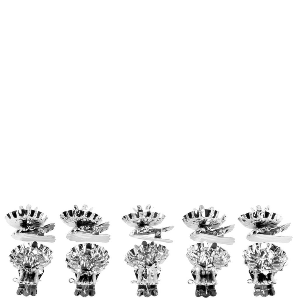 X-MAS Držák svíčky na vánoční stromek 10ks - stříbrný