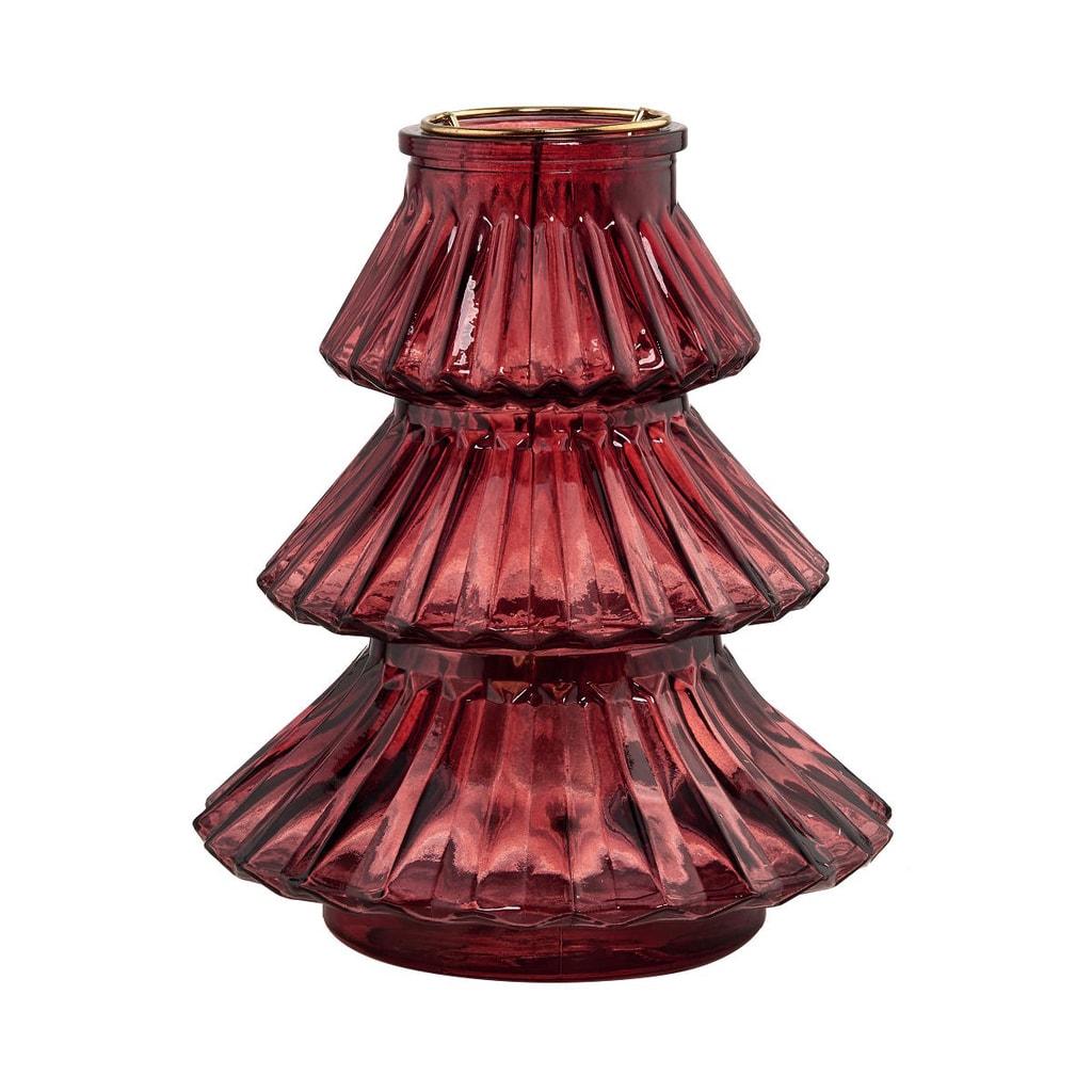 YULE Svícen stromek 19 cm - malinová