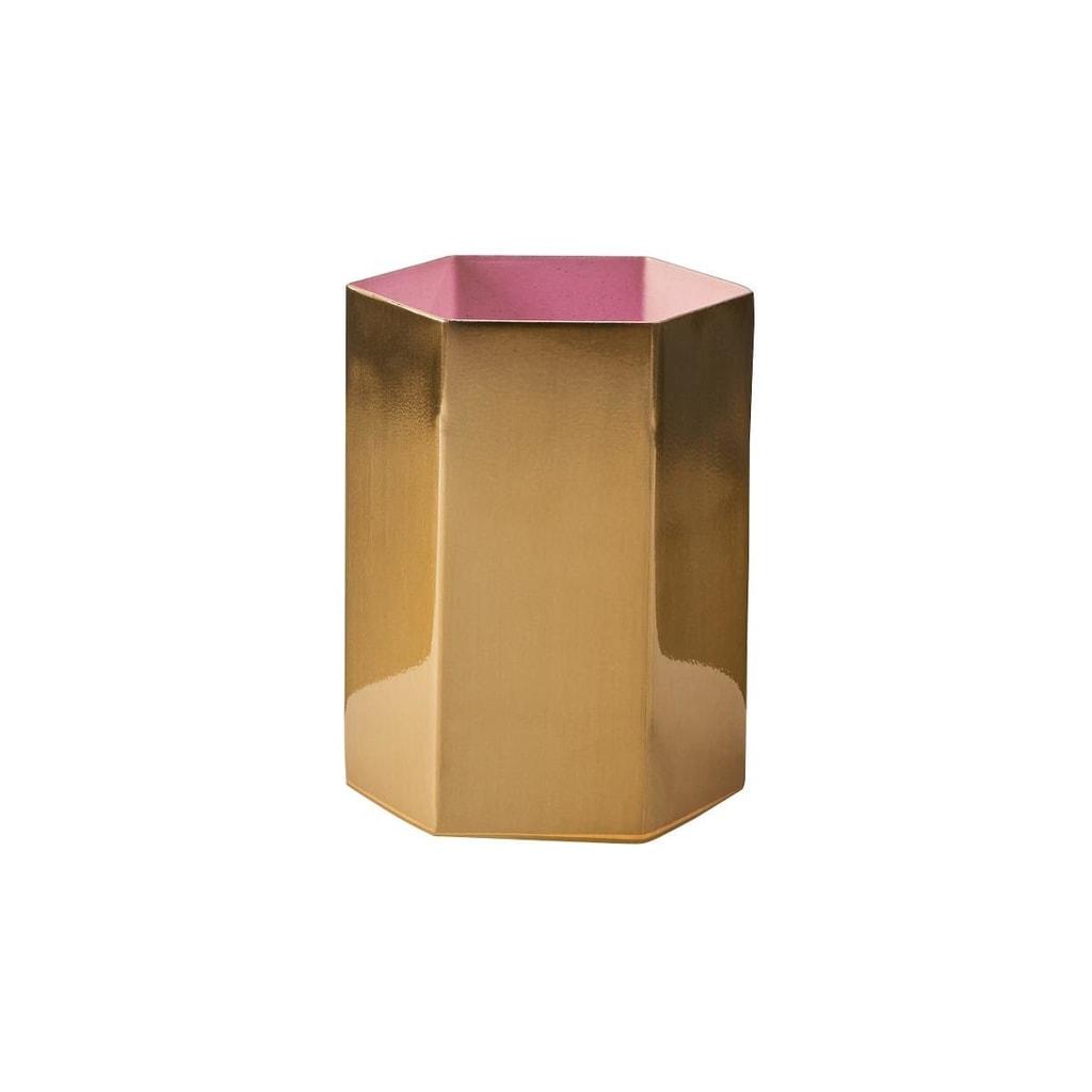 EDGY Svícen na čajovou svíčku 10 cm - růžová/zlatá