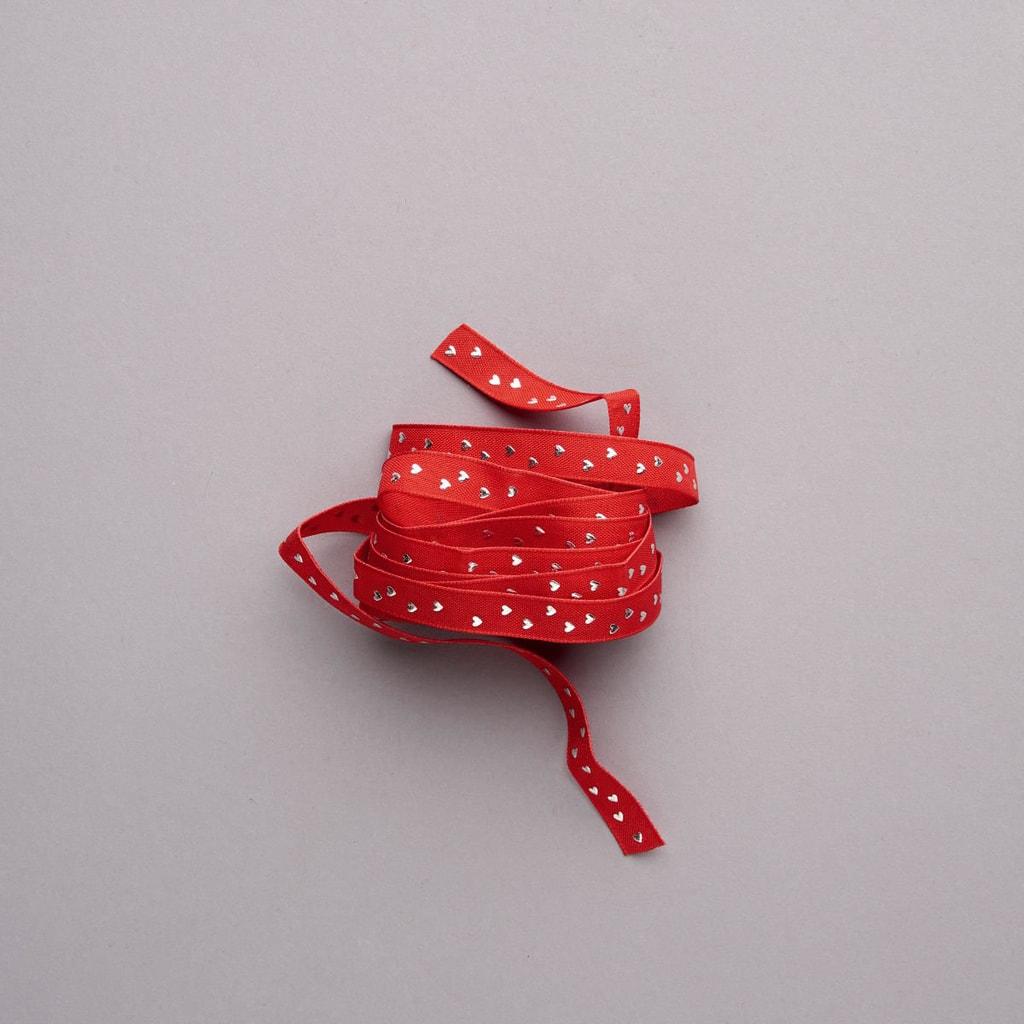 RIBBON Stužka se srdíčky - červená