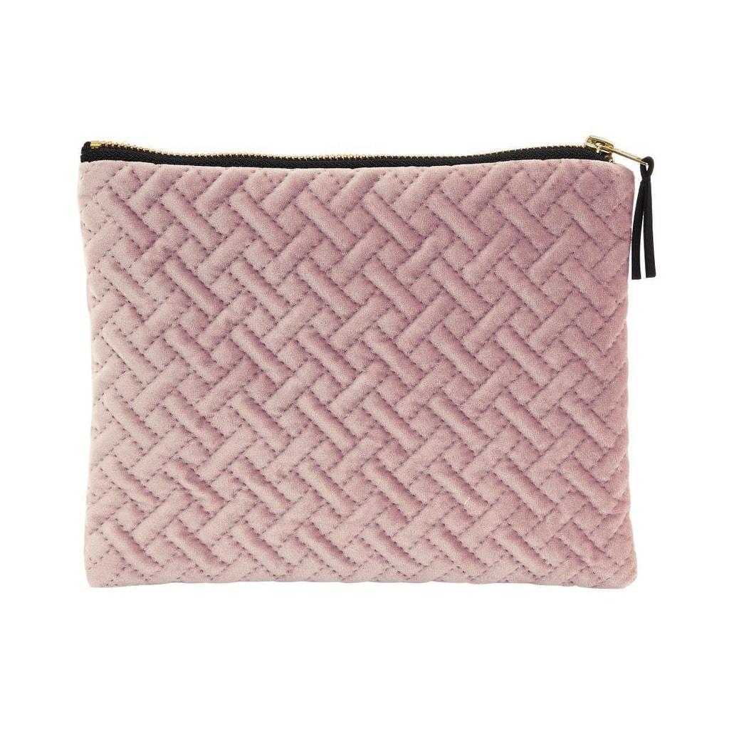 VOGUE Sametová kosmetická taška strukturovaná - sv. růžová