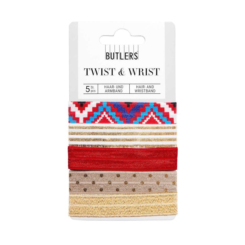 TWIST & WRIST Gumička na vlasy  a náramek v jednom - červená