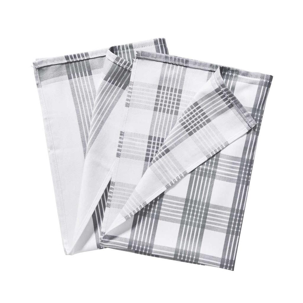 CLEAN TEAM Utěrka set 2 ks - šedá/bílá