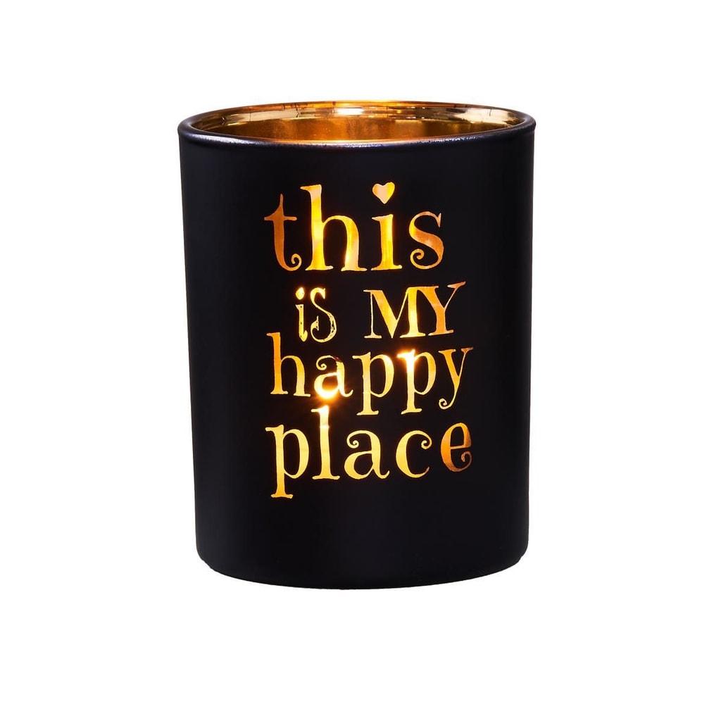 DELIGHT Svícen na čajovou svíčku Happy Place - černá/zlatá