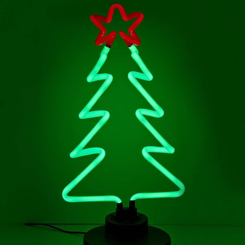 HAPPY HOLIDAYS Neonová lampa vánoční stromek