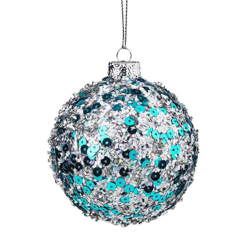 HANG ON Ozdoba vánoční koule třpytivá 8 cm - sv. modrá