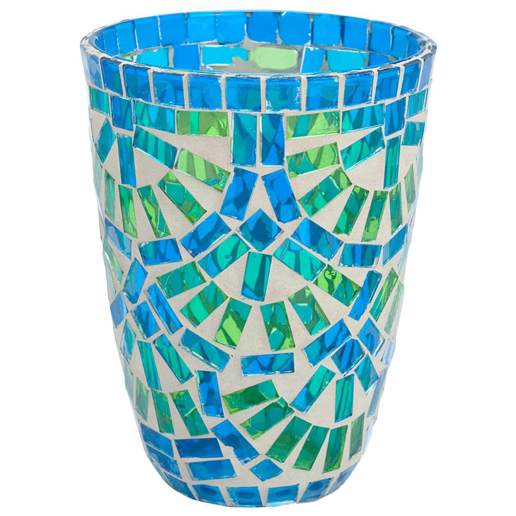 TIFFANY Lucerna na svíčku 12cm - modrá/zelená