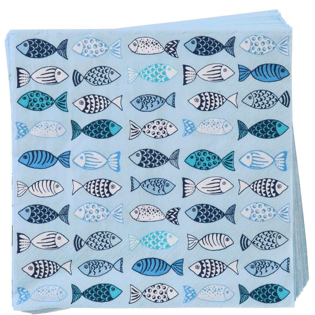 APRÉS Papírové ubrousky ryby - modrá