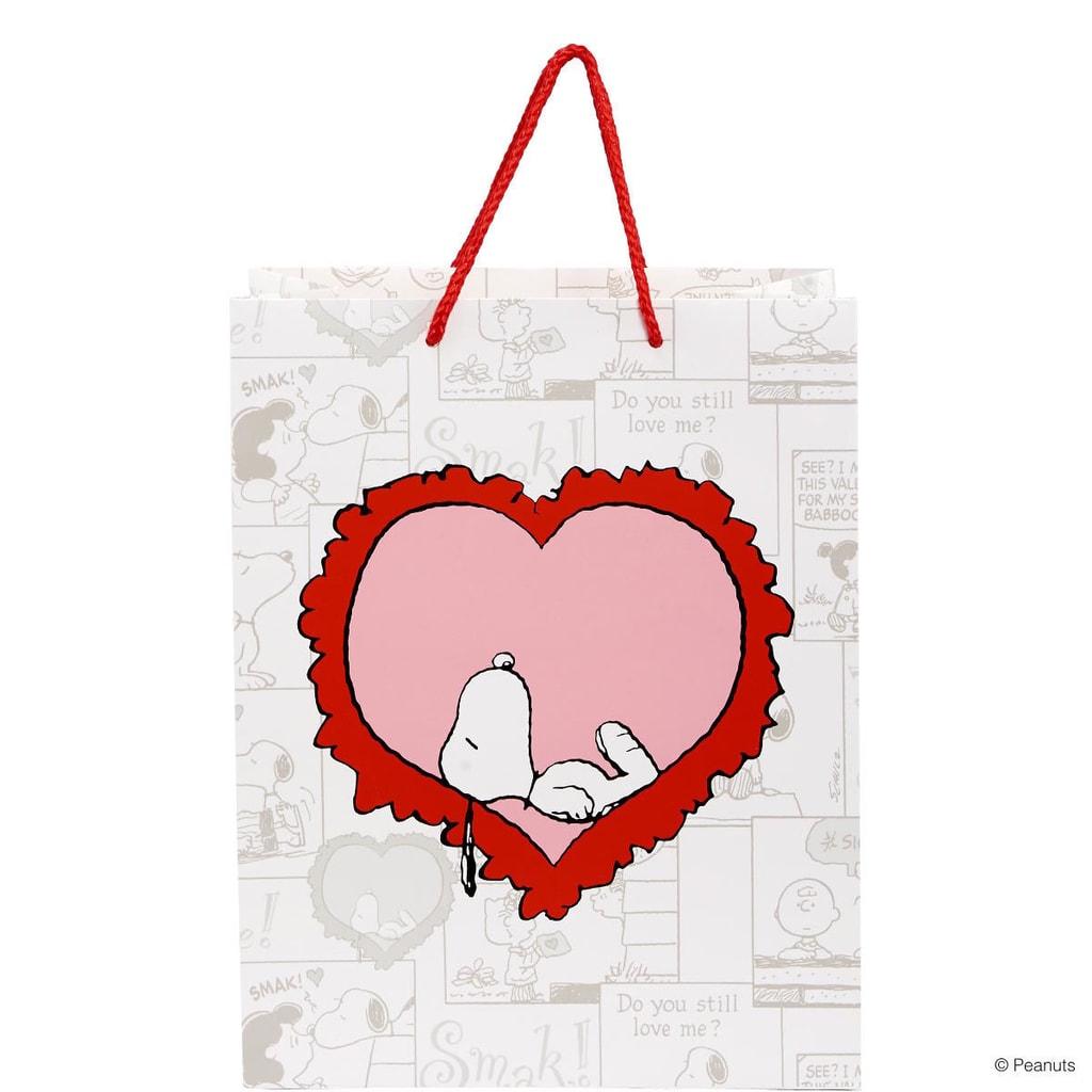 PEANUTS Dárková taška Snopy srdce velká