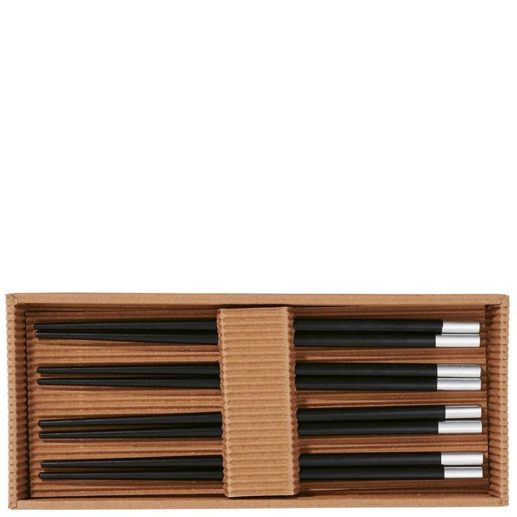 MIKADO Hůlky set 4 páry - černá/stříbrná