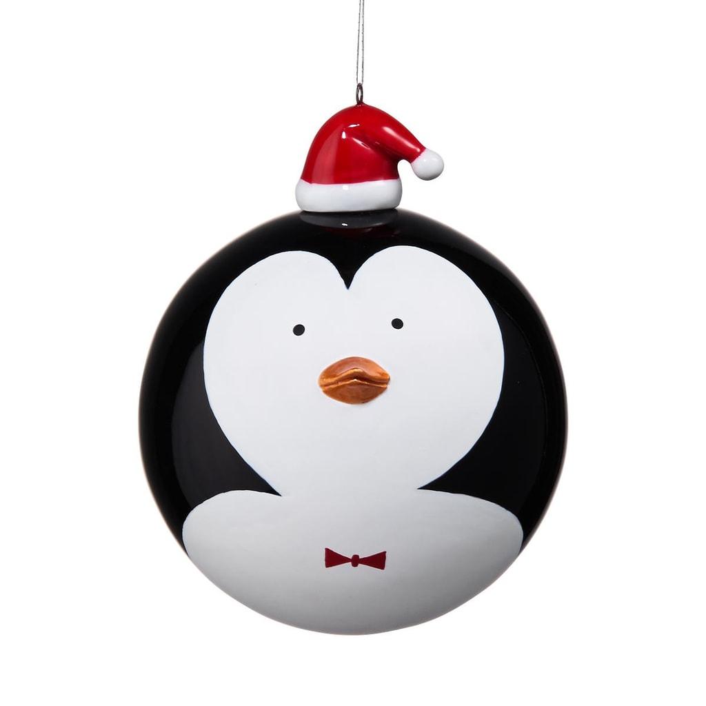 HANG ON Skleněná koule tučňák