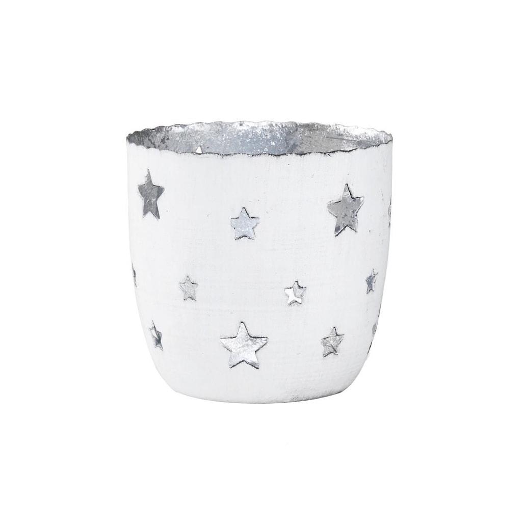 DELIGHT Svícen na čajovou svíčku hvězdy velký - bílá/stříbrná