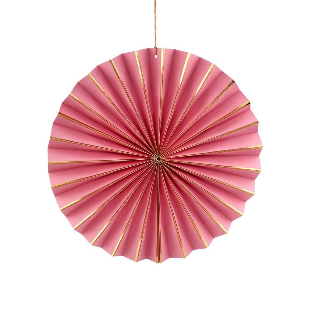 PAPER ART Papírový vějíř 20 cm - sv. růžová