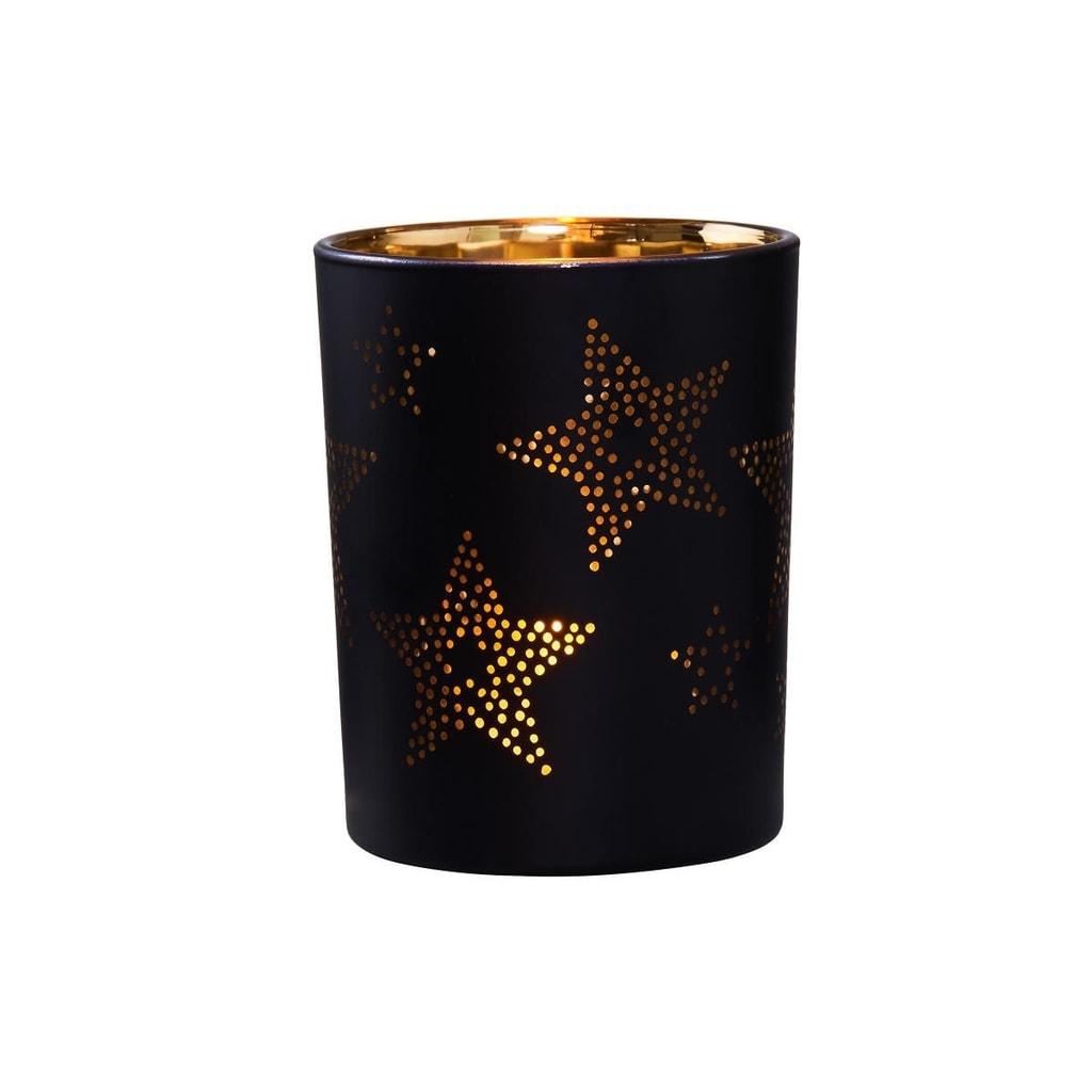 DELIGHT Svícen na čajovou svíčku hvězdy 10 cm - černá/zlatá