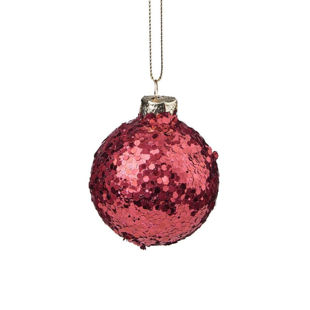 HANG ON Ozdoba vánoční koule se třpytkami 6 cm - bordó