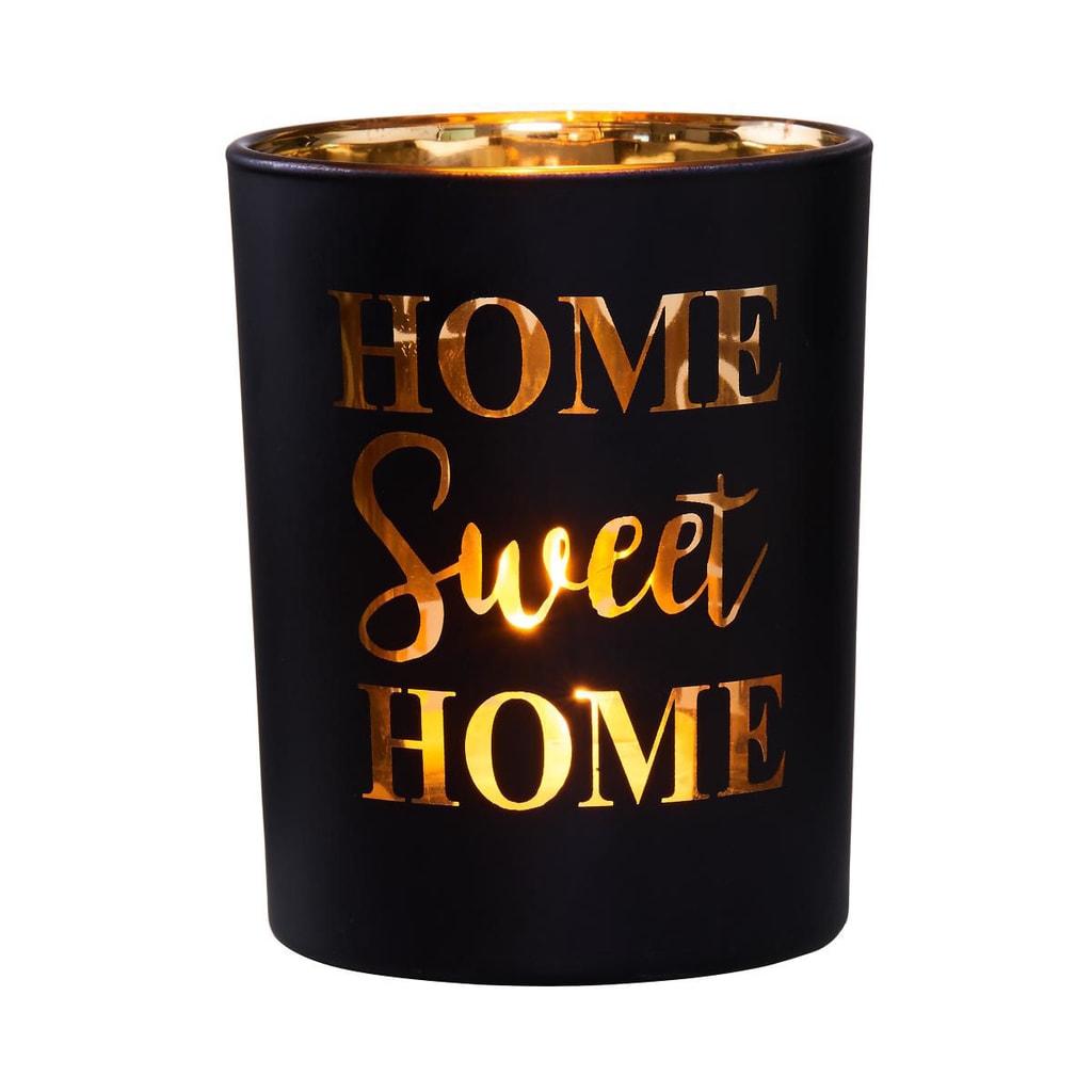 DELIGHT Svícen na čajovou svíčku Sweet Home - černá/zlatá
